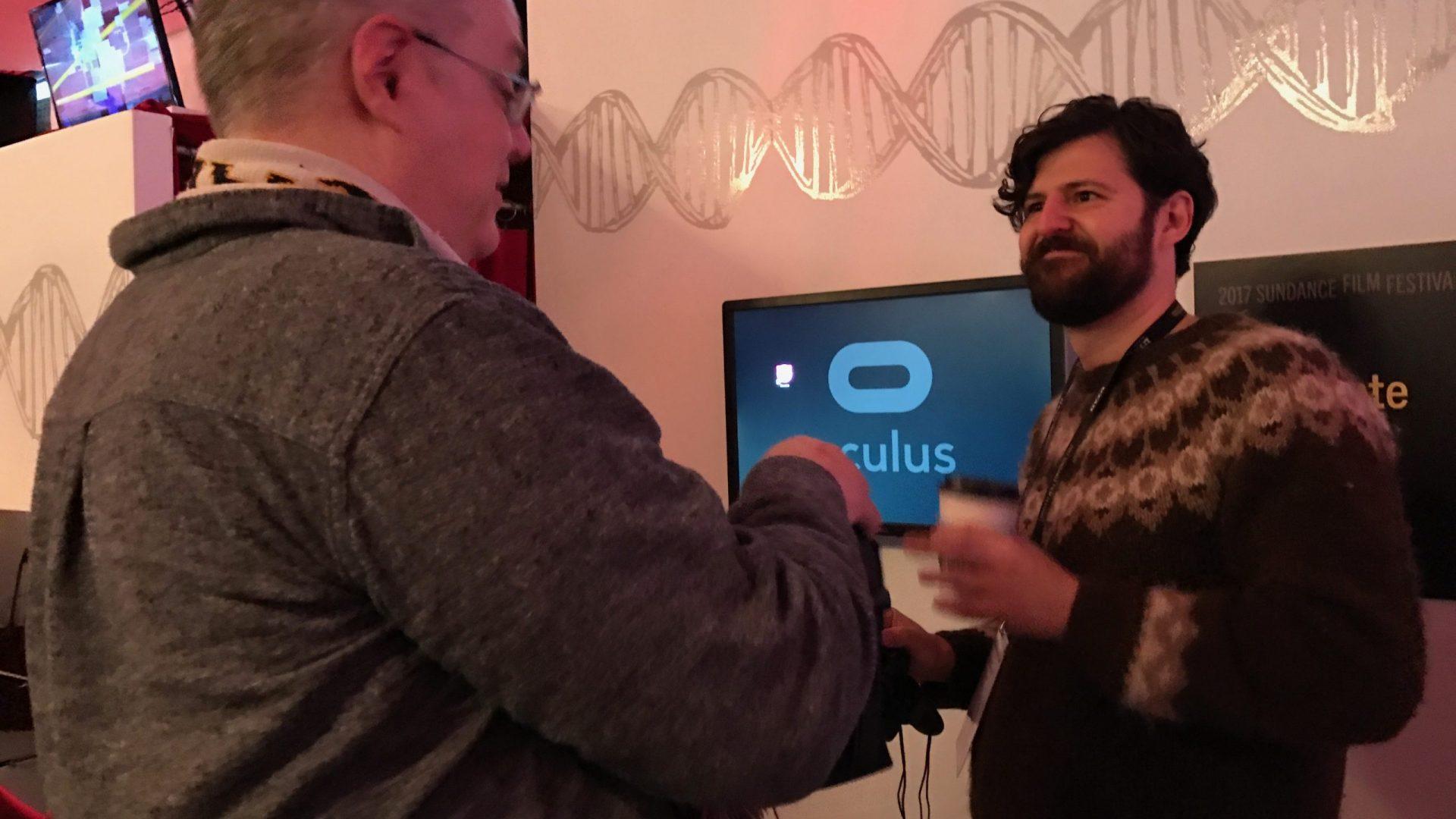 Tyler being interviewed at Sundance
